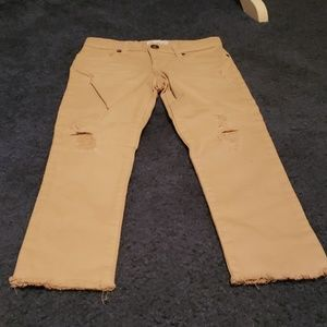 Girl's Distressed Khaki Jeans